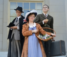Benjamin Fitton as Henry Higgins, Camille Gray as Eliza Doolittle, James Altman as Colonel Pickering