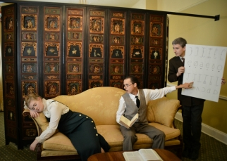 Camille Gray as Eliza Doolittle, Benjamin Fitton as Henry Higgins, and James Altman as Colonel Pickering