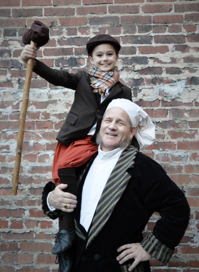 Olivia Stevens as Tiny Tim and Steve Baskett as Scrooge, Theatre Bristol 2014, Scrooge! The Musical
