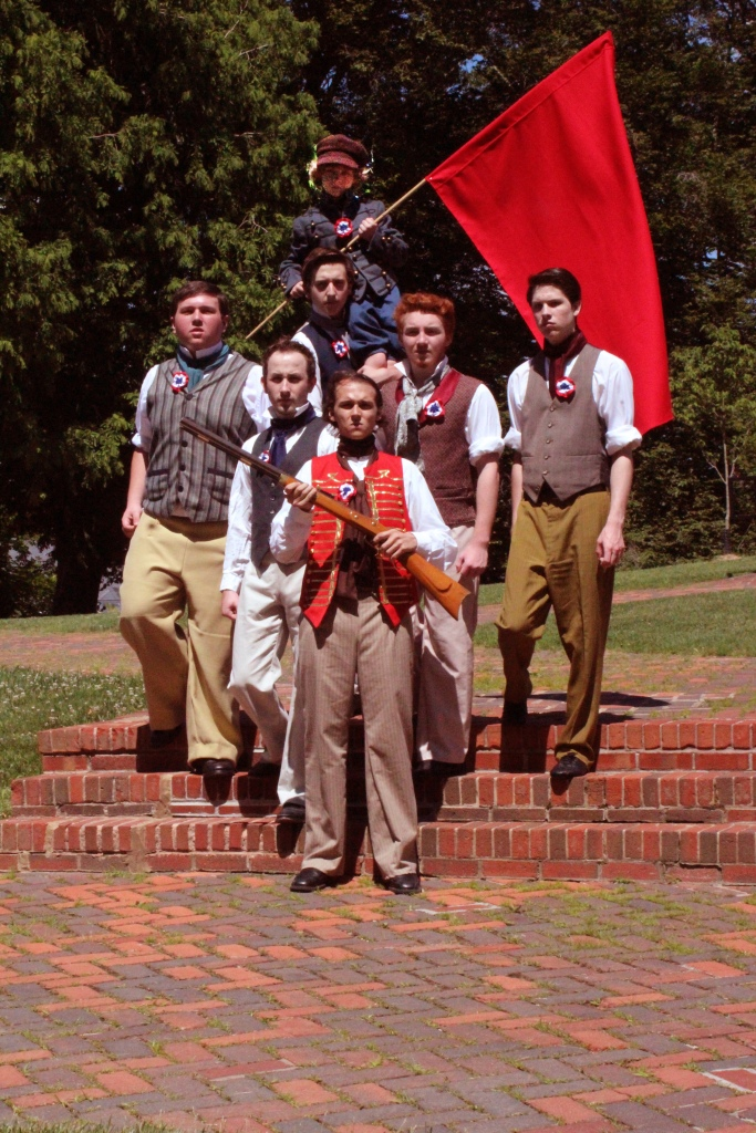 Theatre Bristol's 2015 Les Misérables: Barricade Boys - Clockwise from left: Coy Owens, James Altman, Zaiah Gray, Daniel Freeman, Matthew Torbett, Ben Fitton, Jordan Brown - June 18-28, Paramount Center for the Arts
