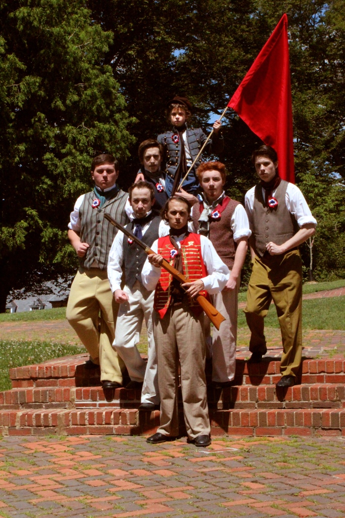 Theatre Bristol's 2015 Les Misérables: Barricade Boys - Clockwise from left: Coy Owens, James Altman, Xander Harris, Daniel Freeman, Matthew Torbett, Ben Fitton, Jordan Brown - June 18-28, Paramount Center for the Arts