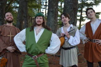 "Theatre Bristol ""The Adventures of Robin Hood"" Jim Altman as Will Scarlet, Marc Montgomery as Friar Tuck, Joey Collard as Robin Hood, and Anthony Underwood as Alan-a-Dale"