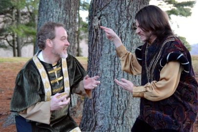 """Theatre Bristol """"The Adventures of Robin Hood"""" Dan Gray Oswald the Unready and Hunter Johnson as Sheriff Sir Guy"""