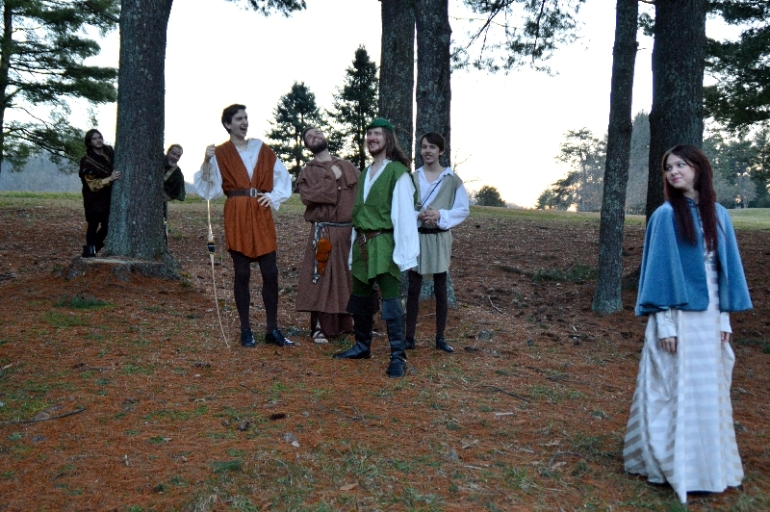 "Theatre Bristol ""The Adventures of Robin Hood"" Hunter Johnson as Sheriff Sir Guy, Dan Gray as Oswald the Unready, Jim Altman as Will Scarlet, Marc Montgomery as Friar Tuck, Joey Collard as Robin Hood, Anthony Underwood as Alan-a-Dale, and Stephanie Marie as Lady Marian"
