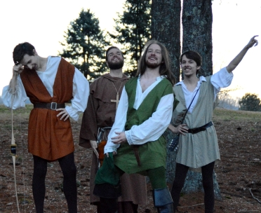 """Theatre Bristol """"The Adventures of Robin Hood"""" Jim Altman as Will Scarlet, Marc Montgomery as Friar Tuck, Joey Collard as Robin Hood, and Anthony Underwood as Alan-a-Dale"""