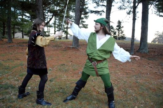 "Theatre Bristol ""The Adventures of Robin Hood"" Hunter Johnson as Sheriff Sir Guy and Joey Collard as Robin Hood"