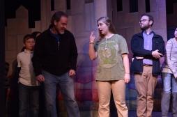 Theatre Bristol Robin Hood 2016 Rehearsal: Abram Moore as Bardolph, Dan Gray as Oswald the Unready, Kaly Schmidt as Midge the Miller, Marc Montgomery as Friar Tuck