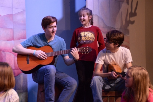 Theatre Bristol The Adventures of Robin Hood 2016 Rehearsal: James Altman as Will Scarlet, Carly Street as Georgie, and Anthony Underwood as Alan-a-Dale