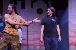 Theatre Bristol The Adventures of Robin Hood 2016 Rehearsal: Joey Collard as Robin Hood and Hunter Johnson as Sheriff Sir Guy of Gisborne
