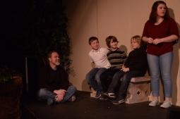 Theatre Bristol The Adventures of Robin Hood 2016 Rehearsal: Dan Gray as Oswald the Unready, Abram Moore as Bardolph, Zaiah Gray as Randolph, Solomon Lennon as Ferguson, and Jessica Blalock as Brave Beverly